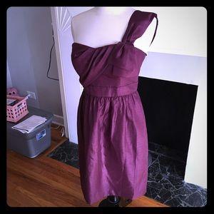 Jenny Yoo plum one shoulder dress